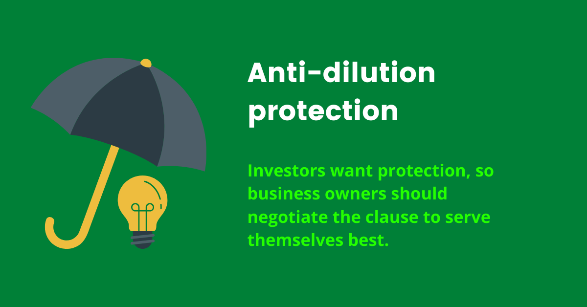 Anti dilution protection in business, funding tips